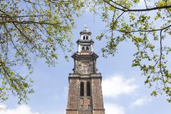 tower of westerkerk in dutch capital of amsterdam - stock photo