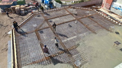 Construction. Pouring concrete slab. timelapse Stock Footage