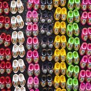 wooden shoes in many colors - stock photo