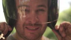 Man wearing a helmet on his head Stock Footage