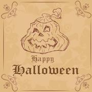 Halloween Illustration with Pumpkins for banners or invite cards Stock Illustration