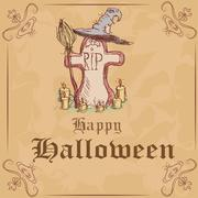 Stock Illustration of Vector illustration. Gravestone with a witch hat and broom. Halloween