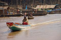 Power boat travels  waterway Stock Photos