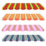 Stock Illustration of detailed illustration of set of striped awnings