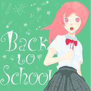 Schoolgirl is standing on a board Stock Illustration
