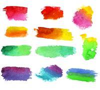 Vector watercolor aquarelle dabs Stock Illustration