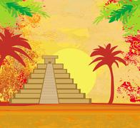 Mayan Pyramid, Chichen-Itza, Mexico - grunge abstract background - stock illustration
