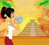tourist photographs Mayan Pyramid - stock illustration
