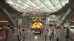 Departure lobby at the Hamad International Airport in Doha, Qatar Stock Footage