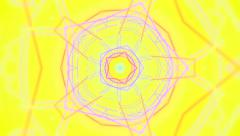 Yellow kaleidoscope screen saver with blue star shape formations - stock footage