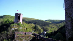 Watchtower of the Esch-sur-Sure Castle. Stock Footage