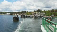 POV-Washington State ferry departs Bainbridge Island Washington Stock Footage