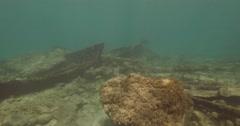 Underwater  Caesarea antiquities boat wreck  4K Stock Footage