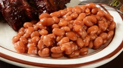 Baked beans and ribs Stock Footage