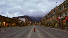 Time-lapse of Main St in Banff Alberta at dusk - stock footage