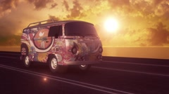 Hippie Van on the Road (Without Logo) - stock footage