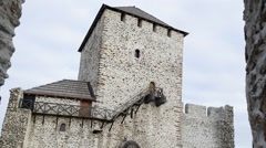 Highest tower of the fortress in Vrsac - stock footage
