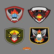 Special unit military logo set. Vector illustration - stock illustration