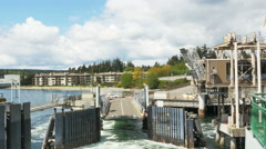 POV-Washington ferry departs dock Bainbridge Island Washington Stock Footage