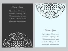 Black and white flyers with ornate flower pattern - stock illustration