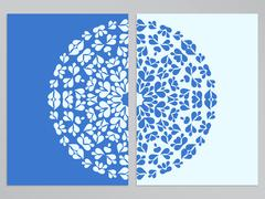 Blue and white flyer design with round pattern - stock illustration