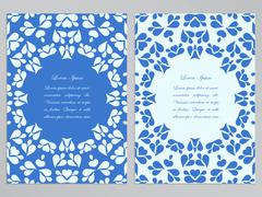 Stock Illustration of Blue and white flyer design with round pattern