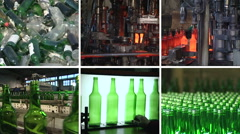 Collage of glass bottle recycling and production in factory Stock Footage