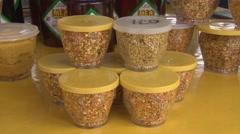 Propolis grains Stock Footage