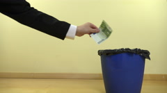 Businessman hand throw cash euro money banknotes in can bin. 4K Stock Footage
