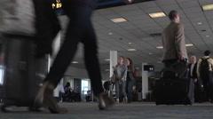Passenger crowd Dulles International Airport terminal 4K 048 Stock Footage