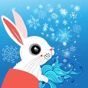 winter portrait of a hare - stock illustration