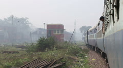 View on suburban landscape in Jodhpur from a moving train. Stock Footage