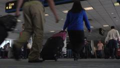Passenger crowd Dulles International Airport terminal fast 4K 048 Stock Footage