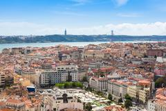 Stock Photo of Aerial view of Lisbon rooftop from Senhora do Monte viewpoint (Miradouro)  in