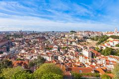 Lisbon rooftop from Sao Jorge castle viewpoint  in Portugal - stock photo