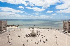 Aerial view of commerce square - Praca do commercio in Lisbon - Portugal - stock photo