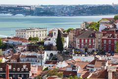 Lisbon rooftop from Sao Vicente de fora church  in Portugal - stock photo