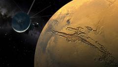 Cassini orbiter passing Mars Stock Footage