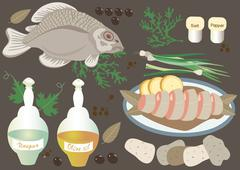 Fish  with products  potatoes, onions, greens - stock illustration