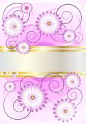 Delicate flowers on a background of shades purple. - stock illustration