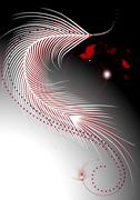 Stock Illustration of Waves white and red feathers with a decor of butterflies