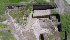 Ruins of the ancient fort of Noviodunum, aerial Stock Footage