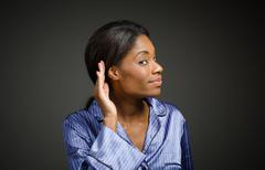 Model listening paying attention - stock photo