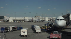 Aircraft emtpy cargo Dulles International Airport ramp 4K 045 Stock Footage
