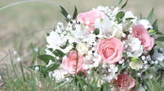Wedding Bouquet On The Grass Stock Footage
