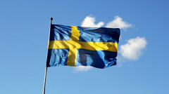 Rapidly moving swedish flag slow motion 1024 - stock footage