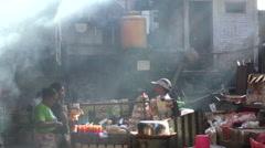 Ubud Market Steaming Breakfast and Sunbeam Rays 4K Stock Footage