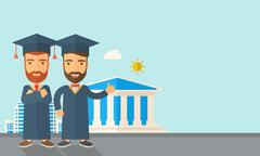 Two men wearing graduation cap - stock illustration