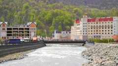 Sochi Russia The urban-type settlement of Krasnaya Polyana Stock Footage