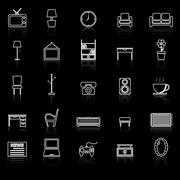 Living room line icons with reflect on black - stock illustration